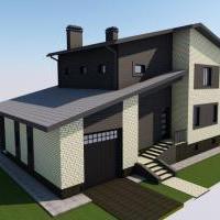 Жилой дом в 2 этажа с цоколем (270 м² общей площади, включая цоколь и гараж) с холодным чердаком и теплым гаражом для микроавтоб