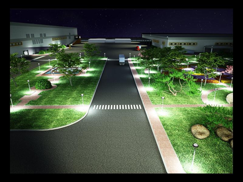 Визуализация завода (внутренняя территория - ночной вид)