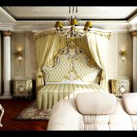 Интерьер спальни-кино в классическом стиле (вид со стороны входа)