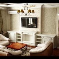 Интерьер спальни-кино в классическом стиле (вид на камин)