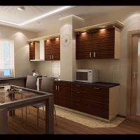 Интерьер 2-х комнатной квартиры с перепланировкой (кухня-столовая)