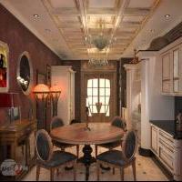 Дизайн и визуализация интерьера загородного дома. Кухня