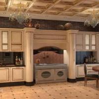 Визуализация интерьера загородного дома. Кухня