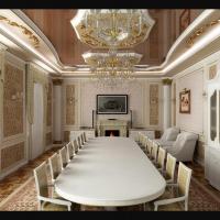 Интерьер гостиной-столовой в классическом стиле частного жилого дома